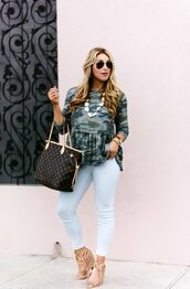 januaryhart,blogger,top,jewels,bag,shoes,sunglasses,louis vuitton bag,tote bag,camouflage,sandals,skinny jeans