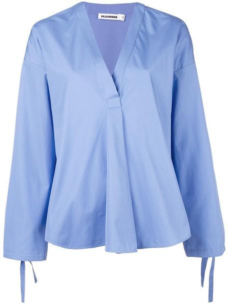 Jil Sander top women cotton blue