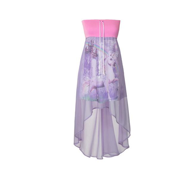 Unicorn rainbow castle fantasy tie dye chiffon dip hem strapless tube dress