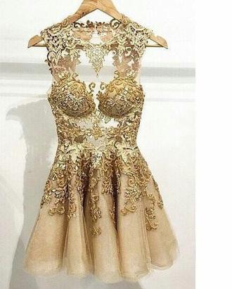 dress prom dress lace dress short dress elegant dress skater dress gold gold dress cute cut off shorts cut-out dress