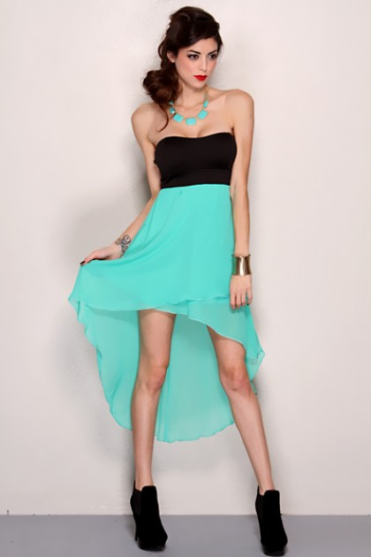 12f07296f50 Mint Black Strapless Sweetheart Tow Tone High Low Hem Sexy Party Dress   Amiclubwear  sexy dresses