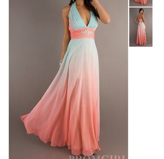 dress prom form pink blue pretty party classy elegant ombre formal dress