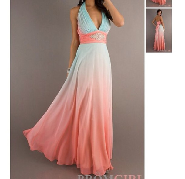 dress, prom, form, pink, blue, pretty, party, classy, elegant, ombre ...