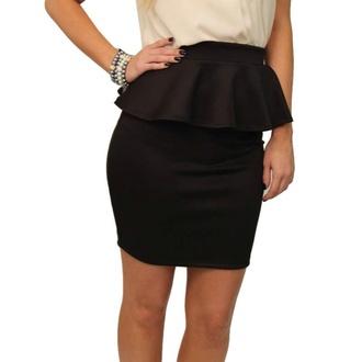 skirt black black skirt cute pretty short skirt peplum peplum skirt black peplum black peplum skirt red lime sunday