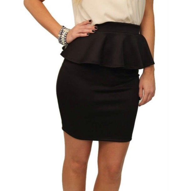 classic office attire with just a titch extra - peplum! Find this Pin and more on Skirt Outfits by Skirt Fixation. Peplum skirt outfit idea Wear a peplum skirt with a rolled-cuff button-down shirt and chic pumps.