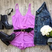romper,belle xo,macaroon,lavender,purple,flare,tank top,straps,short,shorts,winter outfits,fall outfits,spring,summer,fashion,style,cute,solid