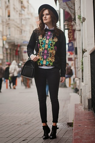the bow-tie sweater jeans hat shoes bag