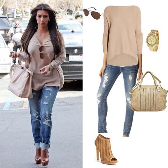 beige bag jeans kim kardashian beige t-shirt t-shirt