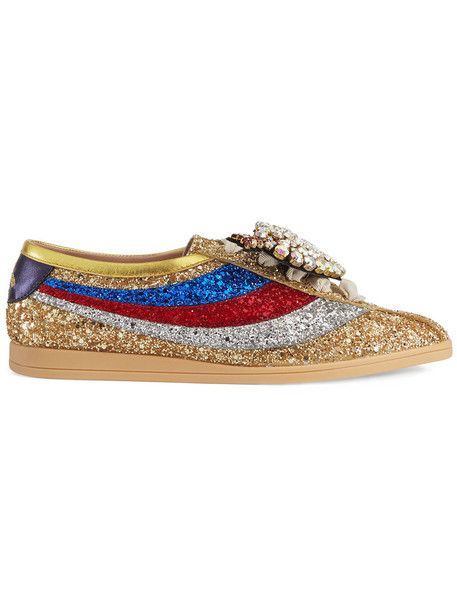 gucci glitter women leather grey metallic shoes