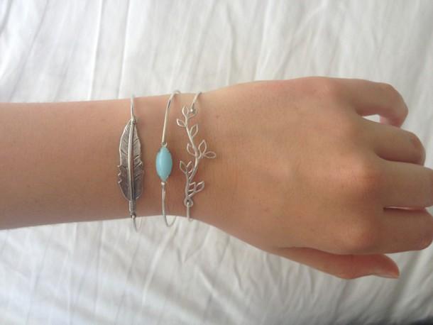 jewels bracelet chains jewelry silver jewelry silver bracelet silver bracelet leaves leave blue stone