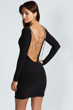 Ava Diamante Chain Back Bodycon Dress at boohoo.com