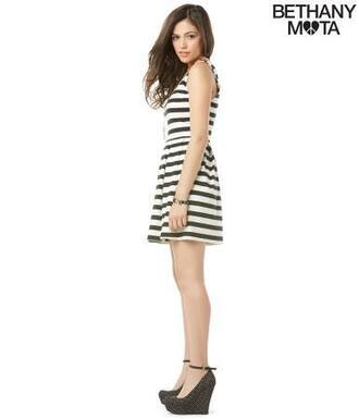shoes bethany mota motavator aeropostale black high heels black and white polka dots black and white spring outfits neon orange spring a-line skirt stripes