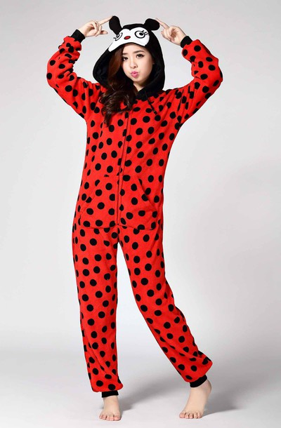 718491db299a pajamas onesie ladybug ladybird red onesie black spots ladybug onesie adult  onesie sleepwear