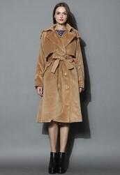 chicwish,premium belted coat,tan wool-blend coat