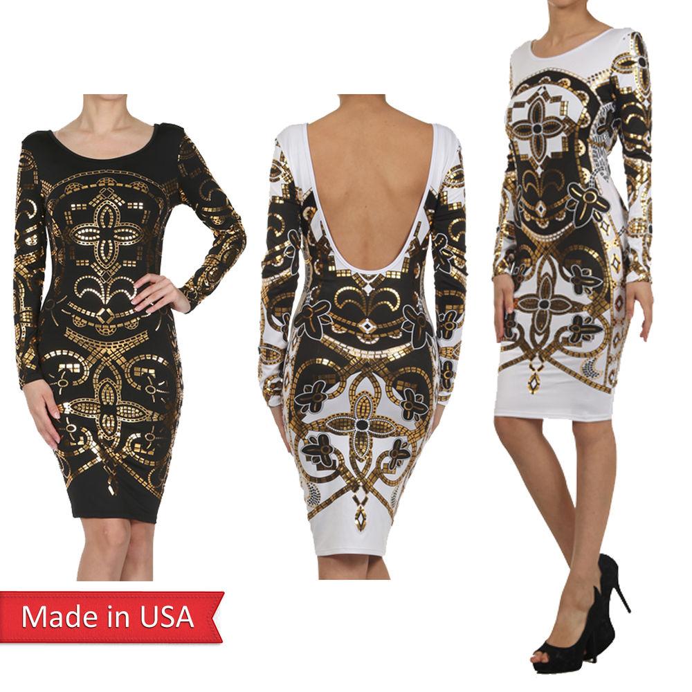 Women sexy clubwear geometric foil print bodycon open back long sleeve dress usa