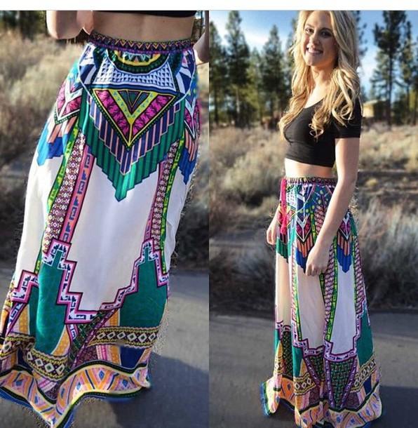 skirt colorful long pattern maxi skirt
