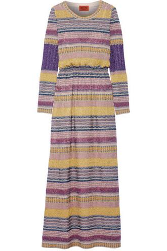 dress maxi dress maxi knit metallic pink crochet