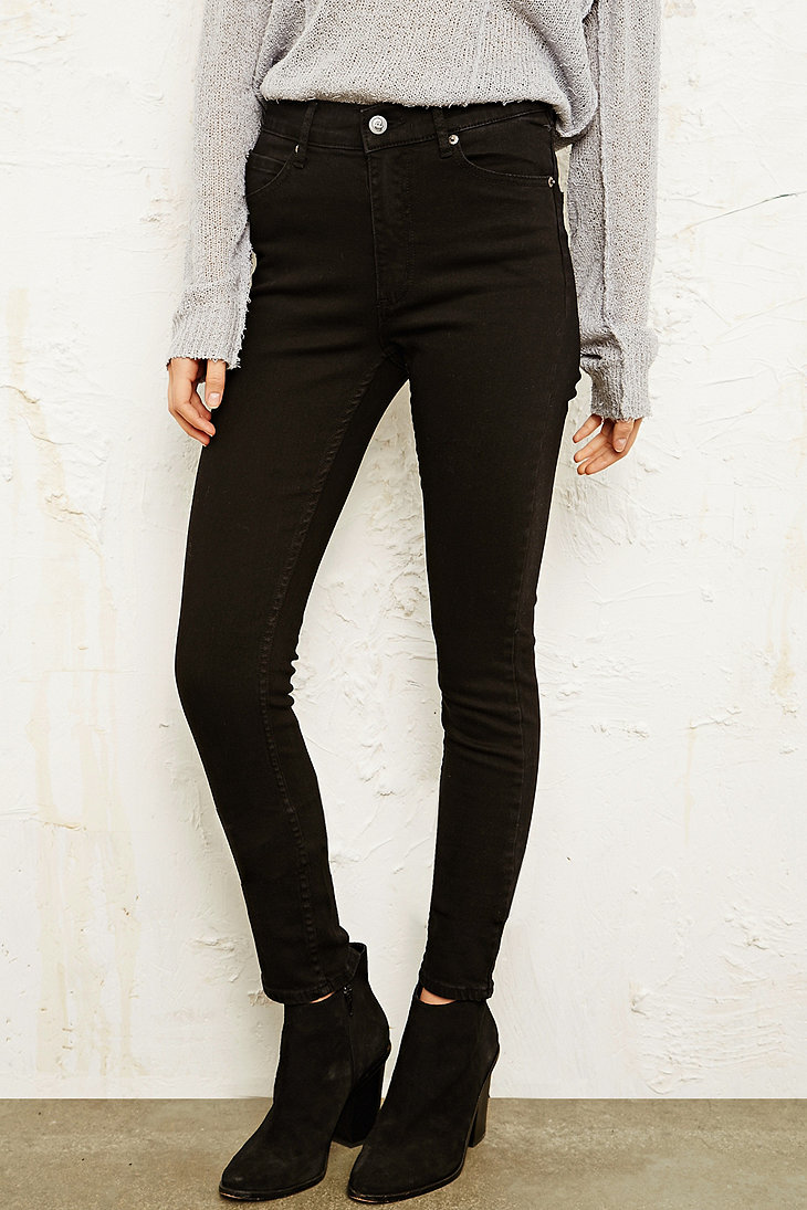 cheap monday second skin high waisted jeans in black. Black Bedroom Furniture Sets. Home Design Ideas