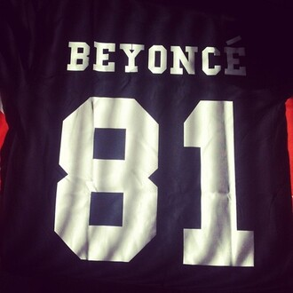 shirt jersey beyonce black t-shirt beyoncé shirt black and white