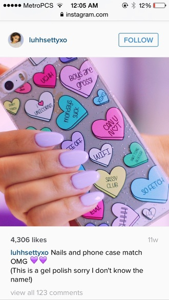 phone cover iphone cover iphone case iphone tumblr heart cute girly girl teenagers youtuber luhhsettyxo instagram stiletto nails nails phone pastel mean girls colorful lilac sayings quote on it monday can you not iphone 5 case pretty quote on it phone case