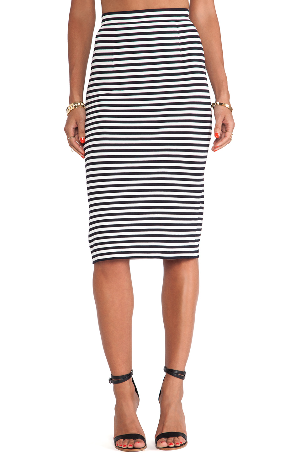 Tibi Racertrack Stripe Skirt in Black Multi | REVOLVE