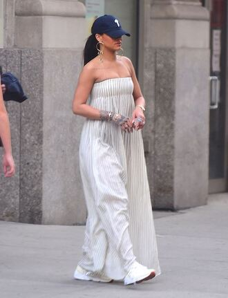 dress maxi dress summer dress rihanna cap sneakers stripes striped dress strapless dress