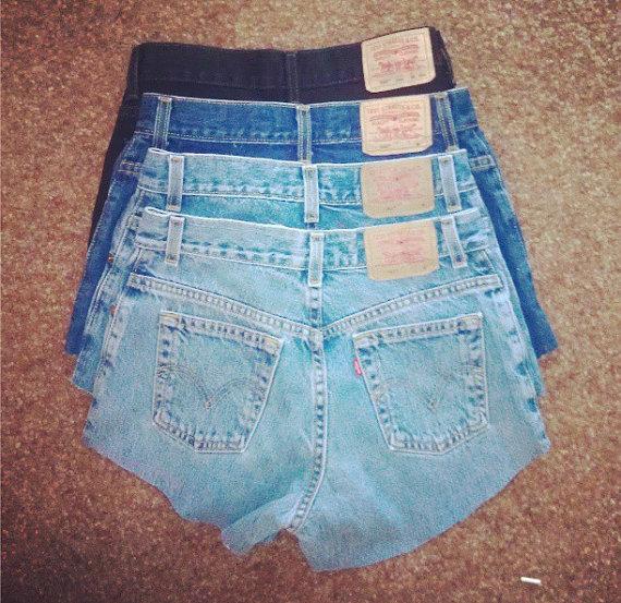 All sizes plain cut high waisted shorts by burdazi on etsy