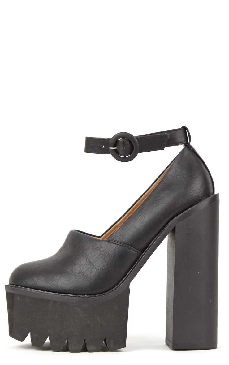 Franceska Black Extreme Cleated Heels - footwear - PrettyLittleThing.com | PrettyLittleThing.com