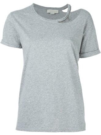 top cut-out metallic women cotton grey