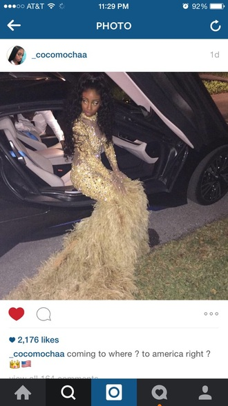 dress long sleeve lace prom dress gold sequins gold dress