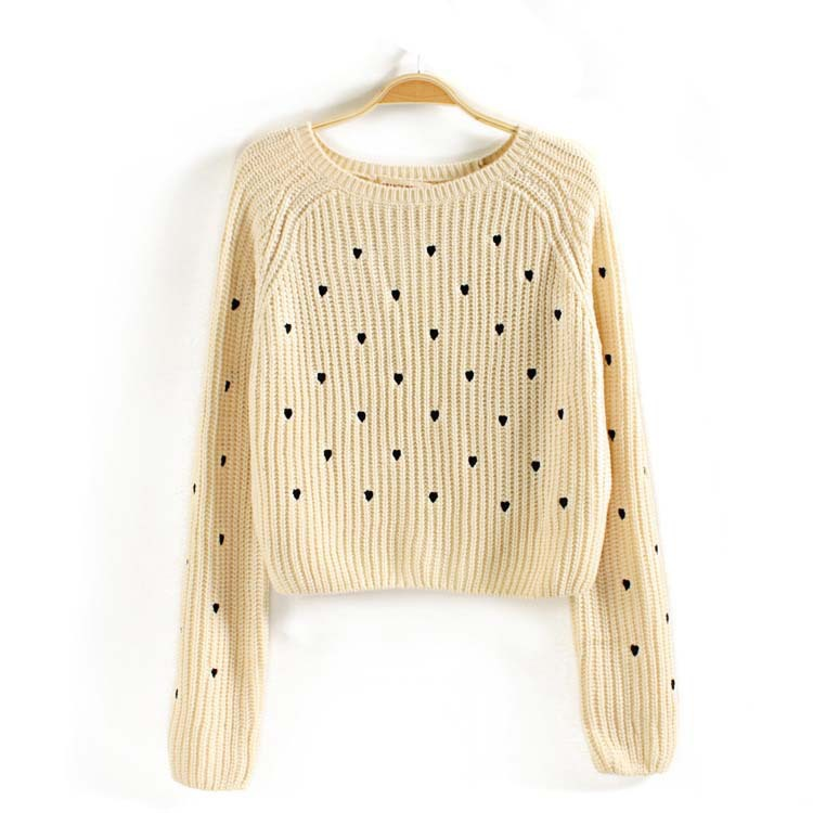 Knitting Pattern Heart Sweater : candy-colored short heart pattern pullover knit sweater
