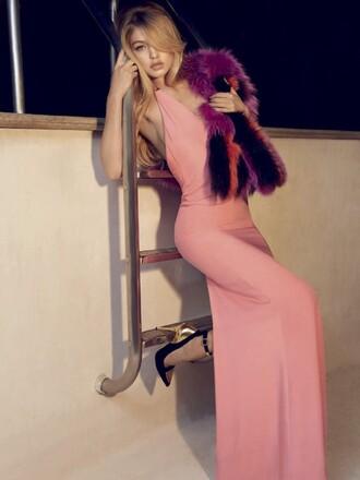 dress gown pink gigi hadid maxi dress prom dress editorial