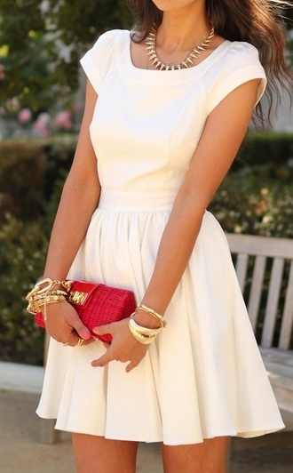 dress white cap sleeve fit and flare summer cream jewels cute dress red bag graduation white dress graduation dress white dress fit and flare homecoming dress creme short sleeve