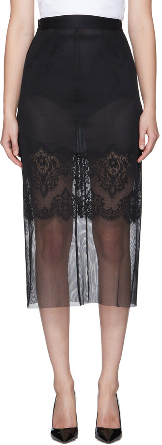 skirt pencil skirt mesh lace black black mesh