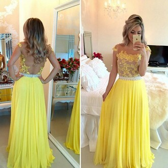 yellow dress open back lace dress long dress evening dress long maxi maxi dress trendy girl girly women lovely pretty sweet cool cute cute dress prom prom dress long prom dress event long evening dress yellow princess dress vanessawu special occasion dress lace tulle dress backless backless dress
