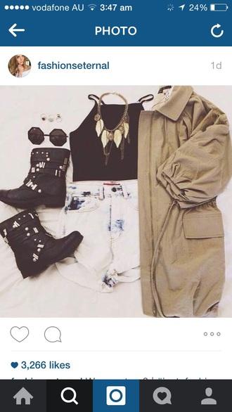 jacket black top glasses shorts jewels boots black dress necklace bracelets brown gold black heels
