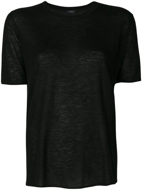 Joseph - classic plain T-shirt - women - Cashmere - M, Black, Cashmere