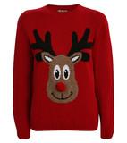 Jade reindeer pompom nose christmas jumper in red