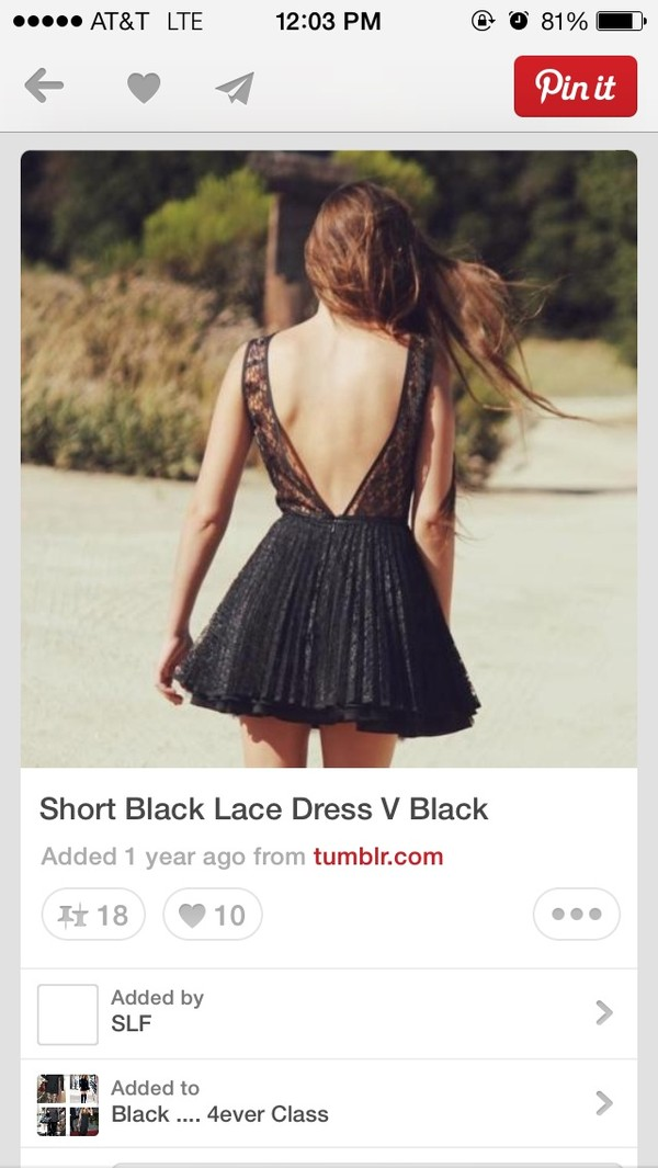 dress black v-back backless lace short dress