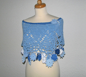 scarf,clothes,capelet,cape,poncho,shawl,knitveae,crochet,blue,undefined,blue scarf,hippie,baby blue,fall outfits