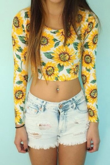 sunflower yellow floral long sleeve