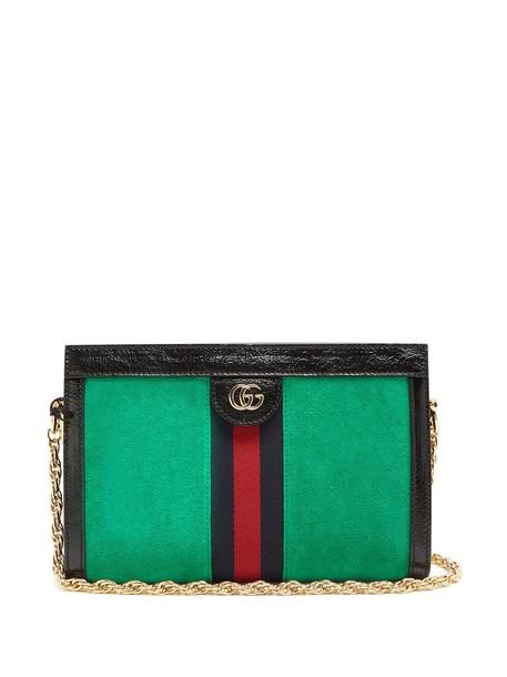 gucci bag shoulder bag suede green