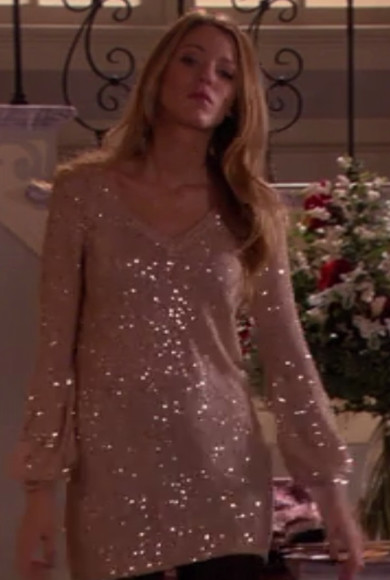 blake lively serena gossip girl serena van der woodsen new york blouse blonde tan gold sequins gold sequins new york city