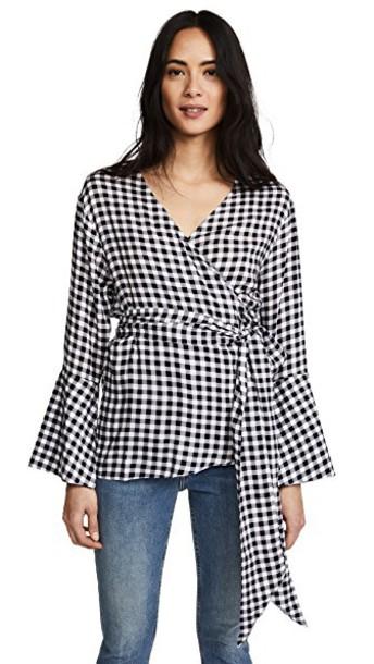 Ella Moon blouse gingham print black top