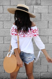 top,embroidered,hat,tumblr,off the shoulder,off the shoulder top,white top,denim,denim shorts,bag,round bag,sun hat,shorts