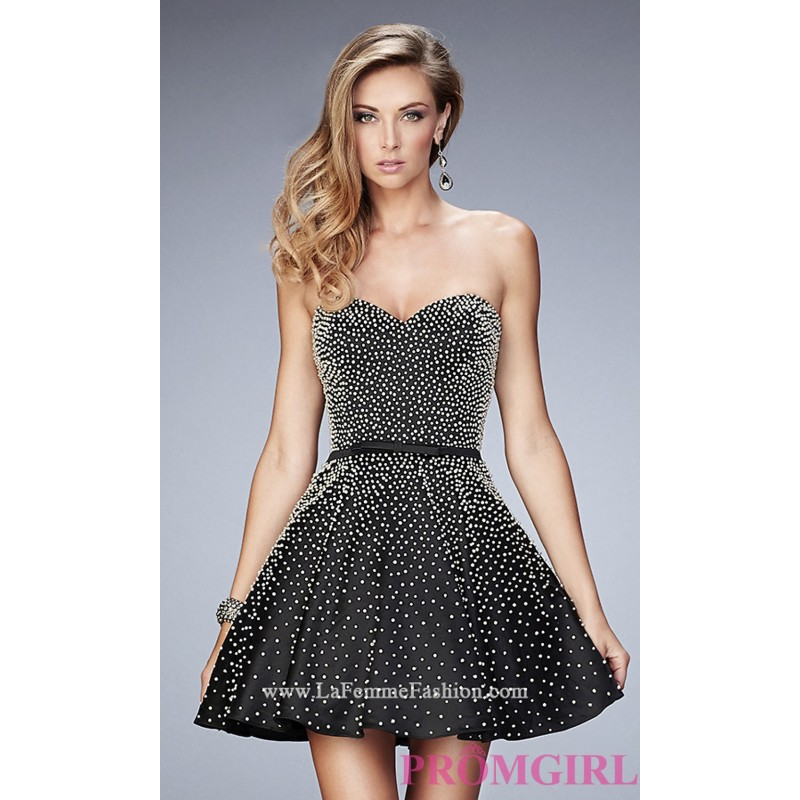 76825c484fce Short Black Beaded Strapless La Femme Semi Formal Dress ...