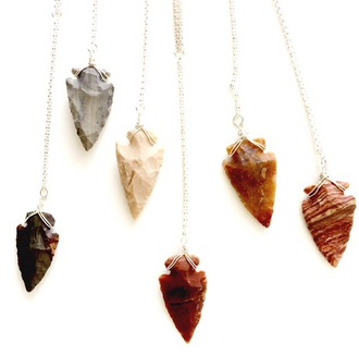 jewels necklace long chain gold chain silver chain boho indie arrow arrowhead gems gemstone