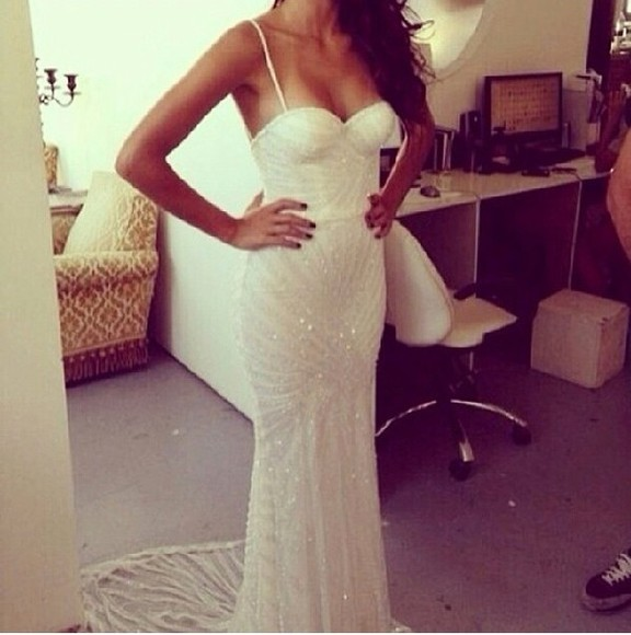 dress white dress beaded long dress white prom dress beaded dress white beaded dress thin straps strapless white long dress wedding dress