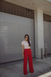 pants,top,wide-leg pants,red pants,sunglasses
