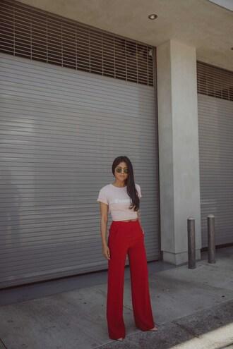 pants top wide-leg pants red pants sunglasses